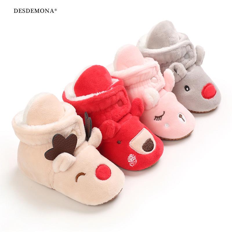 現貨出售 新品上新 秋冬季0-1歲寶寶學步鞋卡通軟底套筒保暖鞋雪地靴 聖誕節