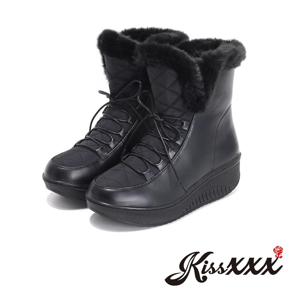 雪靴 現貨 毛絨靴口防輕潑水保暖綁帶厚底短筒雪靴 黑 厚底雪靴 短筒雪靴 絨毛雪靴 羽絨雪靴 KissXXX