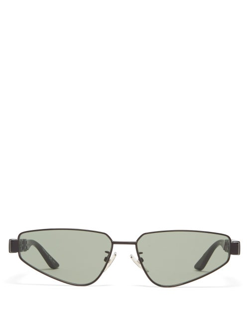 Balenciaga - Logo-debossed Angular Metal Sunglasses - Mens - Black