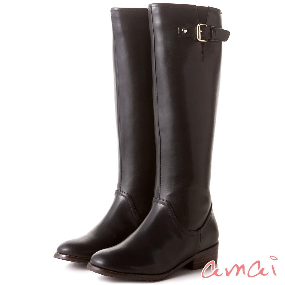 amai 皮帶扣飾點綴質感長靴 黑 AC101-11BK