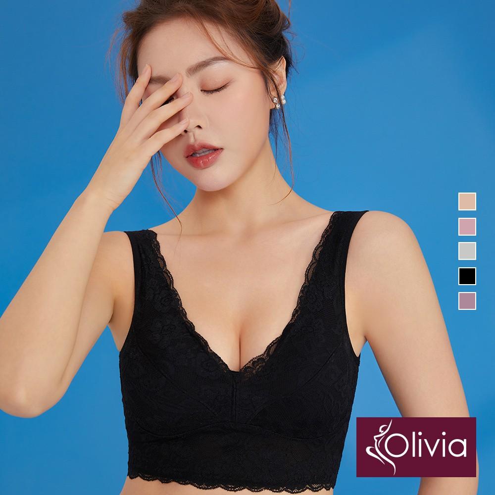 【Olivia】無鋼圈軟蕾絲後交叉美背舒適內衣-黑色