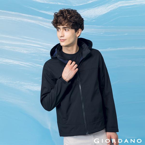 GIORDANO  男裝高機能可拆式連帽外套-09 標誌黑