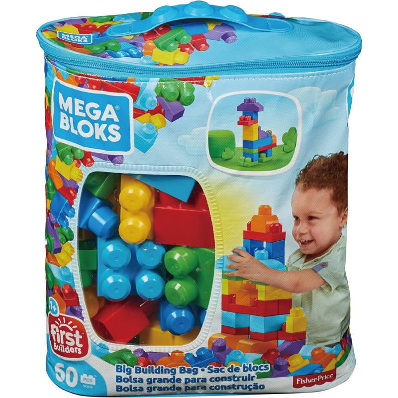 MEGA BLOKS 美高60片積木袋(藍) 玩具反斗城