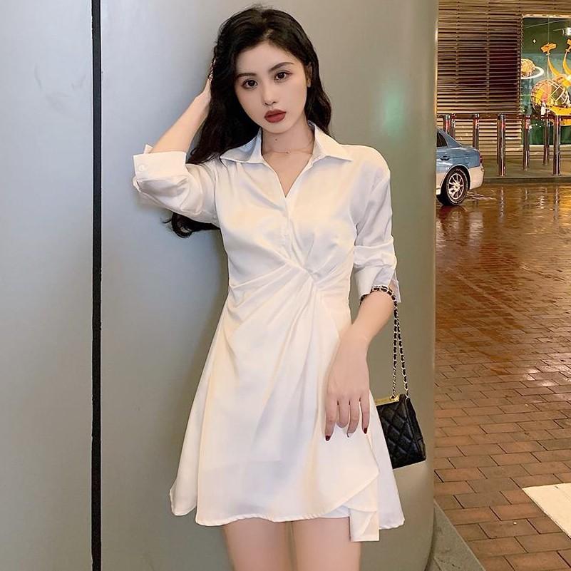 女生洋裝 長袖洋裝 襯衫洋裝 襯衫裙 新款洋裝韓版chic簡約白色收腰女小眾顯瘦緞面雪紡襯衫裙潮秋季新款