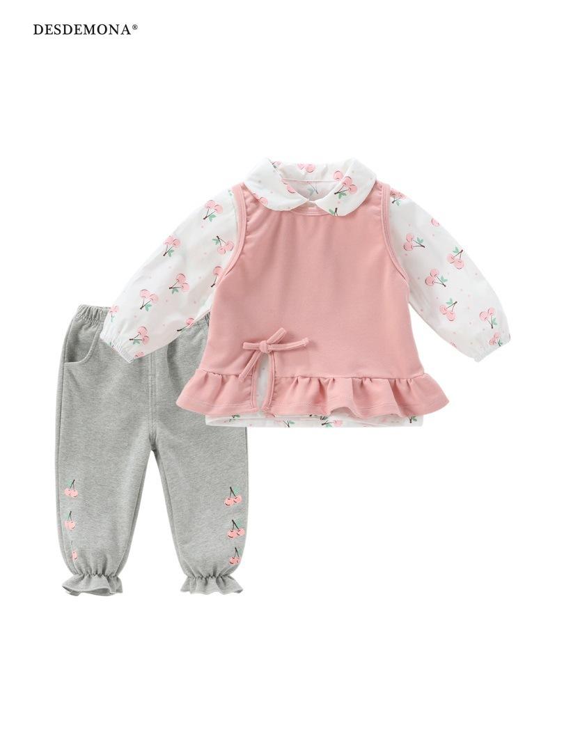 現貨出售 新品上新嬰兒春秋套裝1-5歲女童長袖套裝兒童兩件套女孩女寶寶秋裝