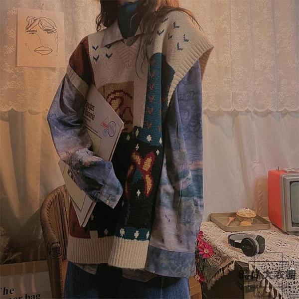 復古V領針織衫女寬鬆馬甲森系毛衣外套潮秋季【時尚大衣櫥】