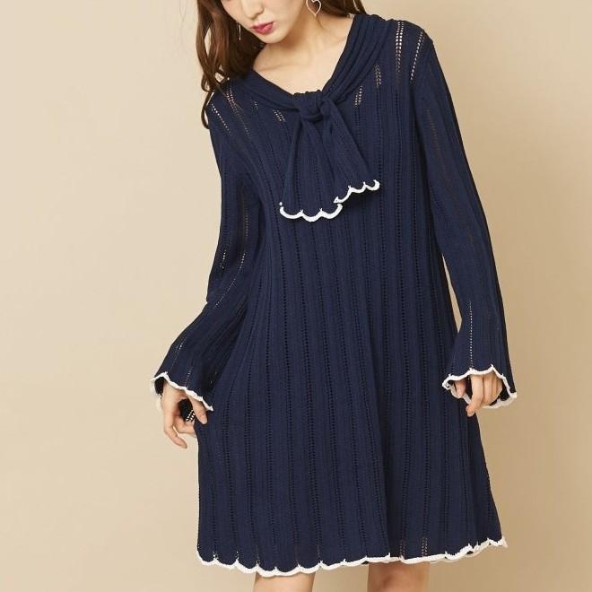 titty&Co.【Y0156-001】喇叭袖針織綁帶洋裝 (3色)