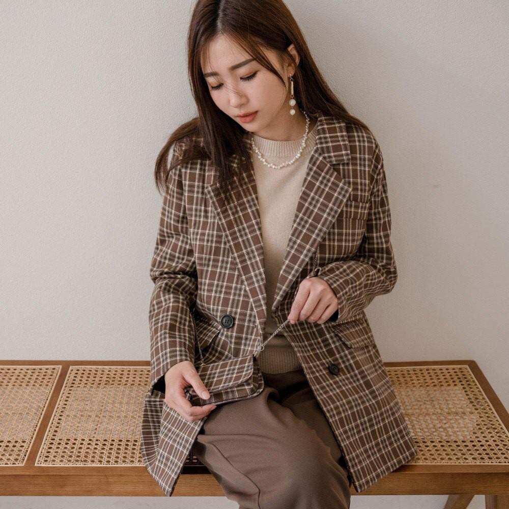 MIUSTAR 附鍊條小包袖排釦格紋西裝外套(共2色)外套 外套女生 西裝外套 1027 預購【NH2587】