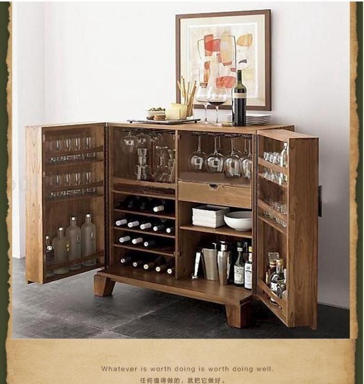 紅酒櫃 新中式全實木紅酒櫃美式榆木洋酒水櫃廚房餐邊櫃收納櫃客廳儲藏櫃