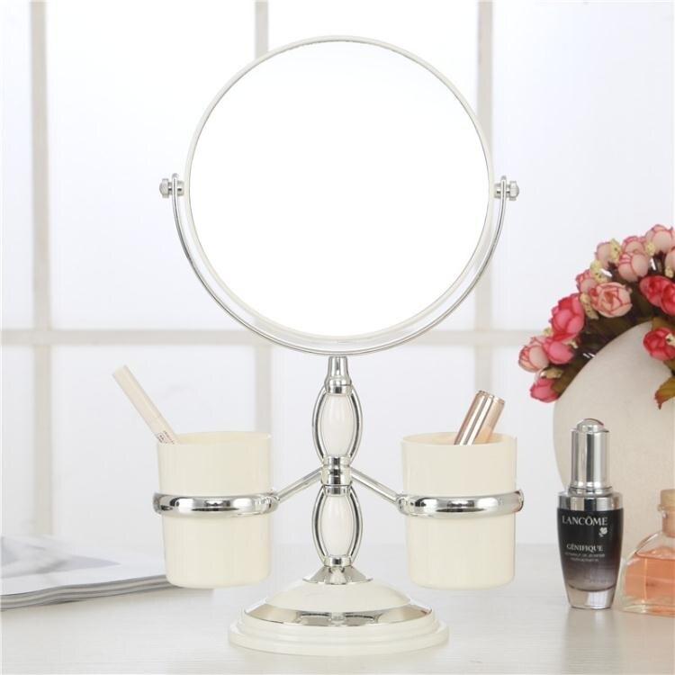 樂天優選-歐式臺式化妝鏡子雙面梳妝鏡桌面帶收納鏡便攜公主鏡WY