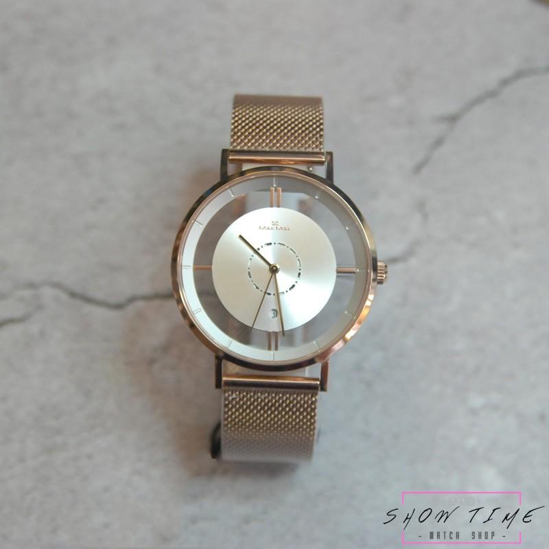 Max Max 個性女孩大錶徑 簍空 簡約 日期 腕錶-網狀米蘭鋼帶/白面玫瑰金 MAS7040-H2 [ 秀時堂 ]