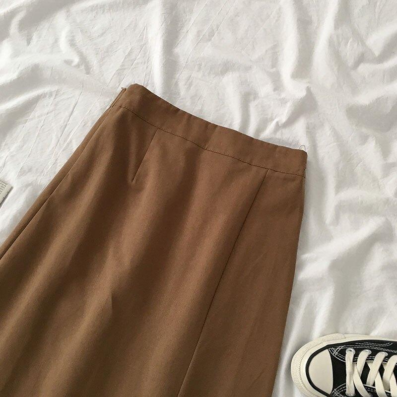 網紅百搭松緊高腰a字裙子2020年新款夏季女裝韓版純色復古半身裙