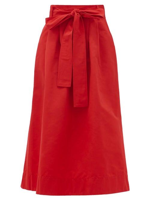 Staud - Snoop Belted Cotton-blend Midi Skirt - Womens - Red