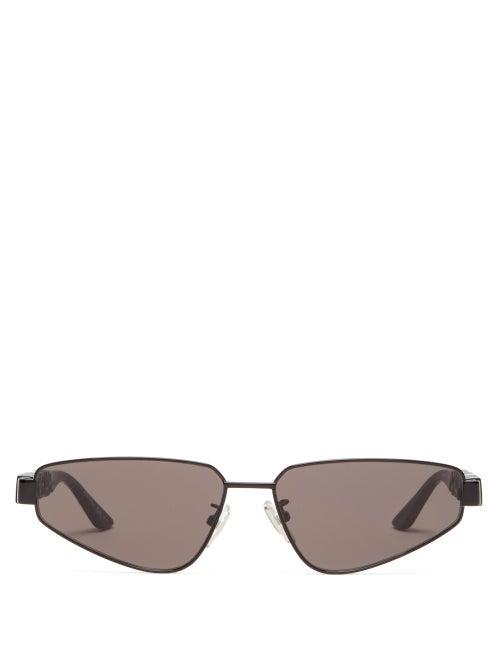 Balenciaga - Crystal-embellished Oval Metal Sunglasses - Womens - Black Grey