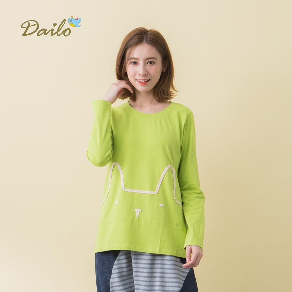 【Dailo】刺繡兔造型長袖-上衣(四色/版型適中)