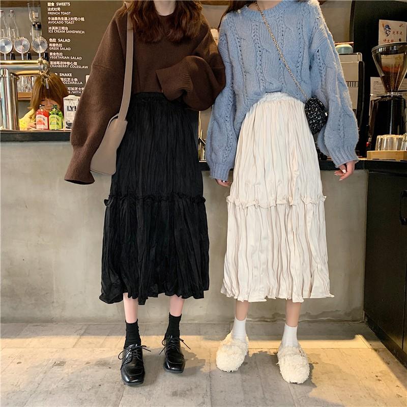 秋季新款韓版褶皺金絲絨半身裙女時尚鬆束腰顯瘦中長裙