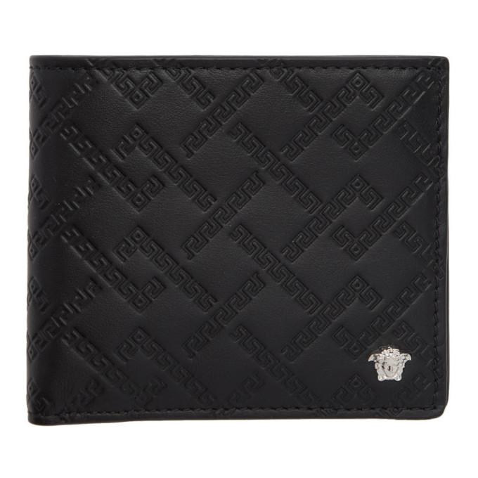 Versace 黑色 and 银色 Greek Key 钱包