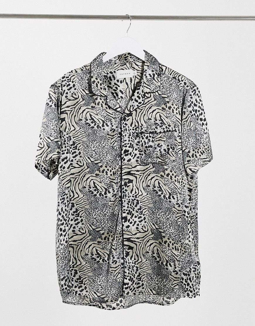 Topman short sleeve satin revere shirt in animal print-Multi