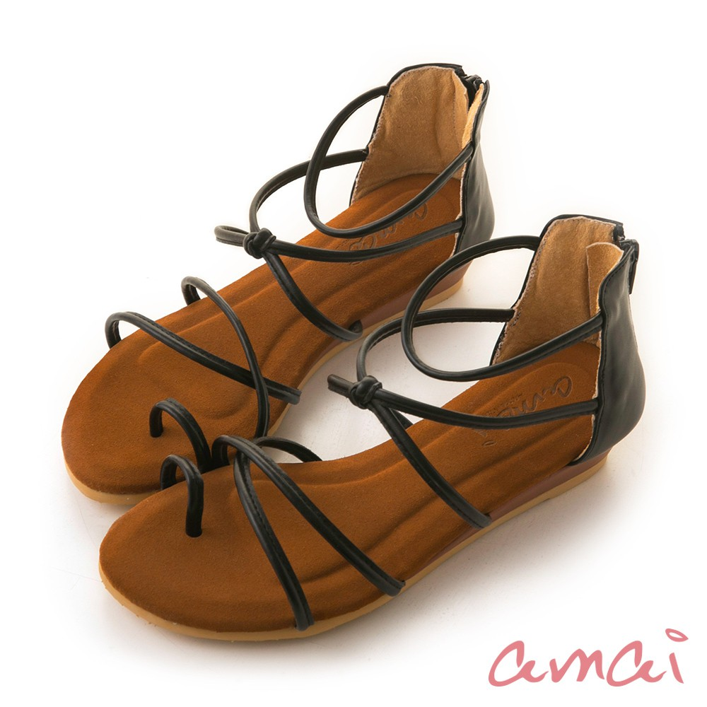 amai 《3M防水麂皮》交叉顯瘦小坡跟涼鞋 黑 HM-11NBK