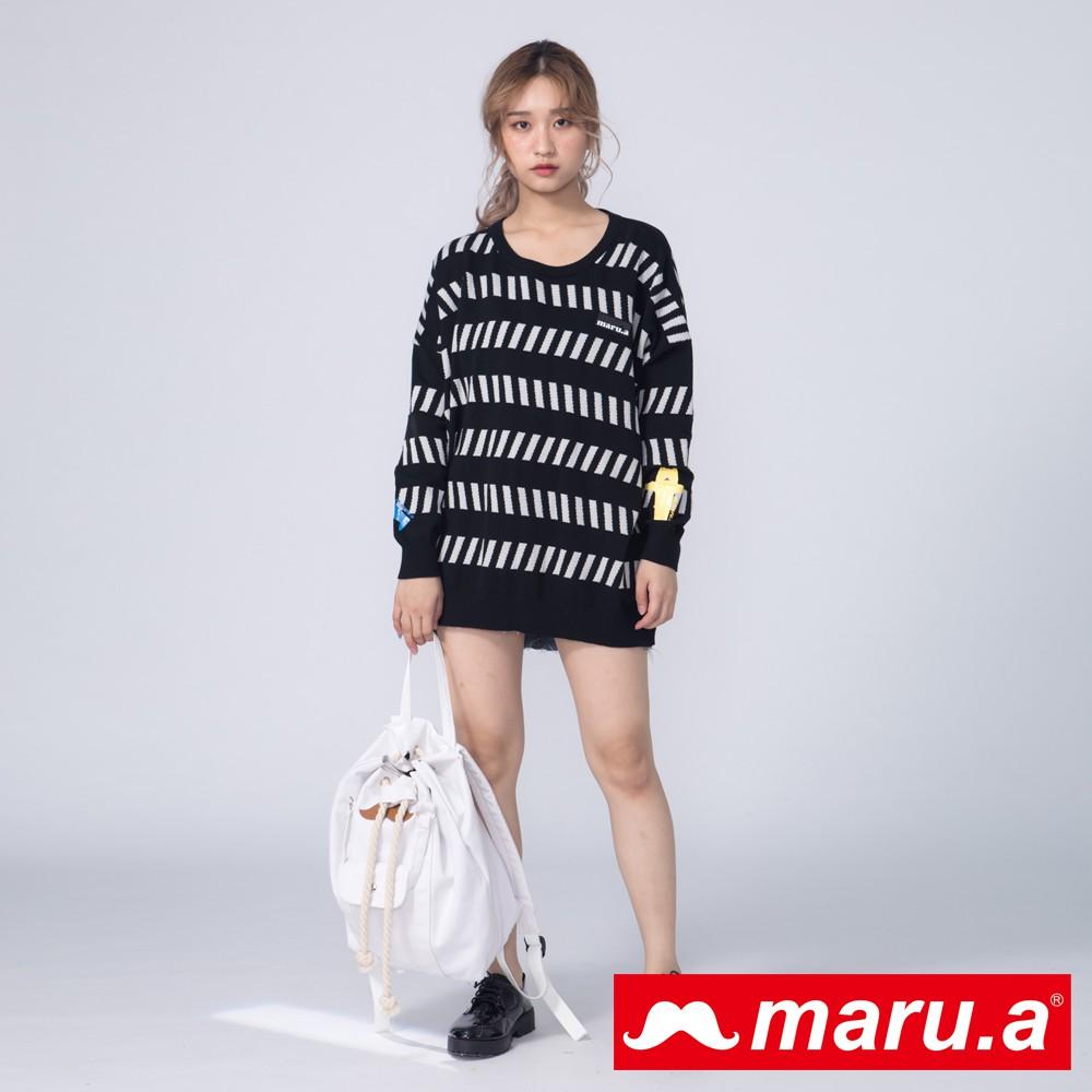 maru.a (99)俏皮跳色Miru條紋圖案針織上衣(黑色)