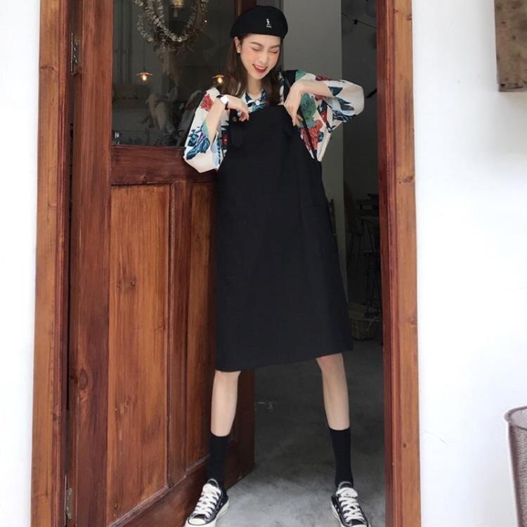 連身裙 夏裝2020新款背帶連身裙子胖mm顯瘦兩件套裝大碼女裝春季春裝早春  廠家直銷