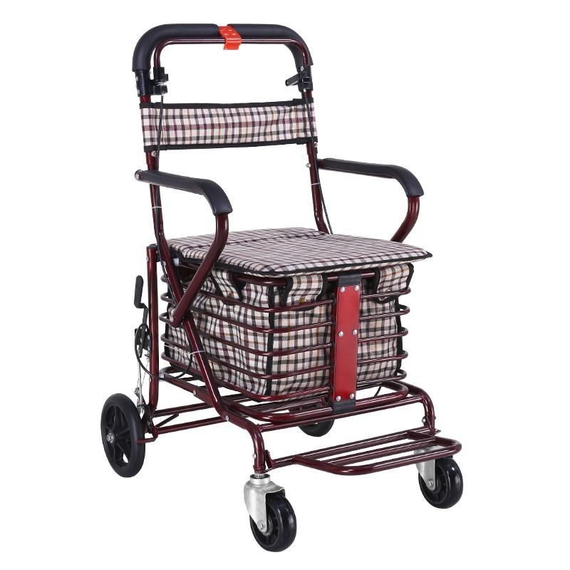 購物車 老年代步車折疊購物車座椅可坐四輪買菜助步可推小拉車老人手推車