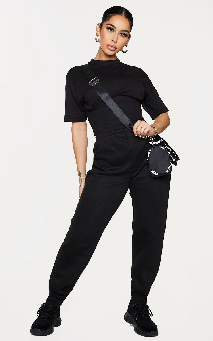 Shape Black Corset Detail Short Sleeve Sweat Jumpsuit