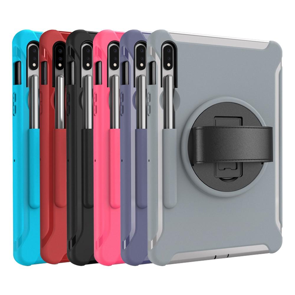 Samsung Galaxy Tab S7 11吋 S7+ 12.4 雙層保護殼旋轉支架手環套雙層軟硬殼保護殼平板保護套