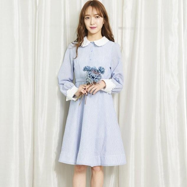 titty&Co.【Y0154-012】直條紋領片、袖口拼接蕾絲腰帶洋裝 (2色)