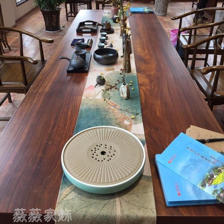 茶席 新中式大板桌旗加長茶席禪意紅木茶幾茶桌餐桌棉麻布藝桌布中國風