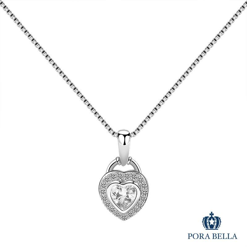 Porabella925純銀鋯石項鍊 愛心明亮 注目焦點 純銀鍊 純銀項鍊 VIP尊榮包裝 Necklace 1件免運