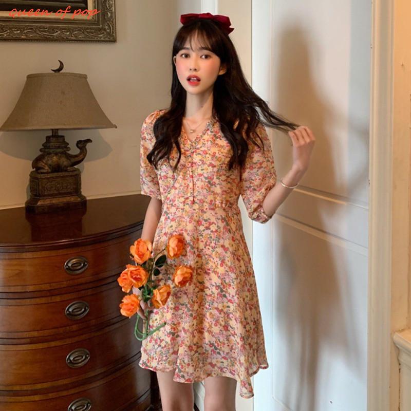碎花洋裝 泡泡袖洋裝 復古洋裝 夏季新款韓版高腰顯瘦百搭V領超仙的碎花泡泡袖女ins風