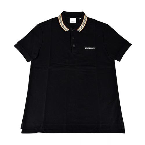 BURBERRY白字刺繡LOGO條紋設計純棉短袖POLO衫(S/M/L/黑)
