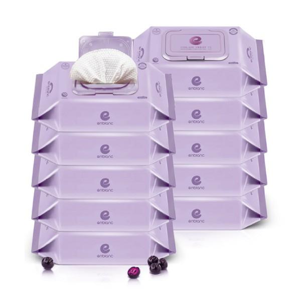 韓國 Enblanc 銀離子輕柔純水有蓋大包濕紙巾-野櫻莓萃取物74抽10入 箱購【麗兒采家】