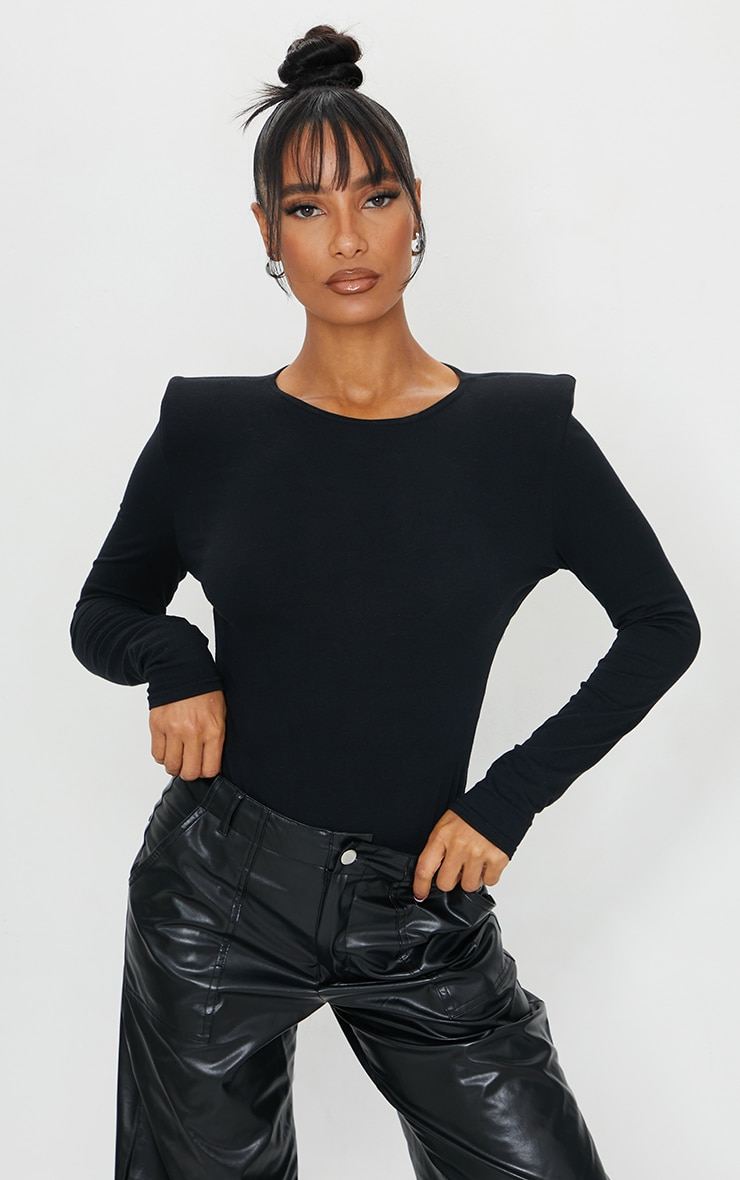 Black Cotton Mix Shoulder Pad Bodysuit