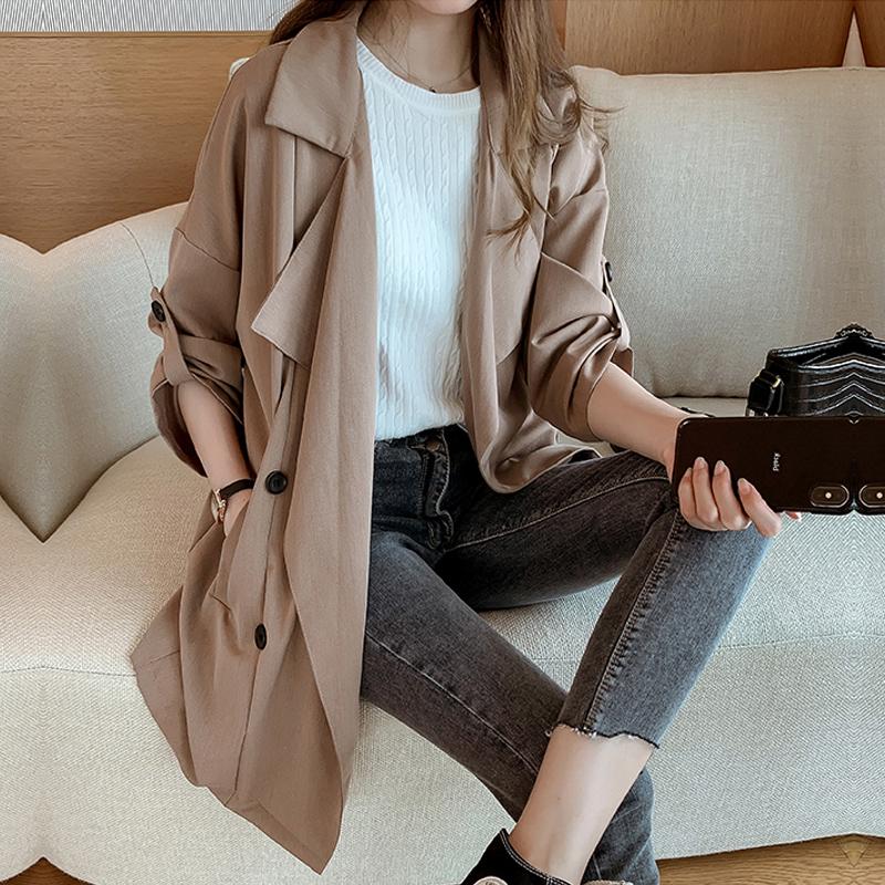 大尺碼胖mm风衣女秋新款網紅韓版中長款胖妹妹寬鬆西装領薄外套大衣