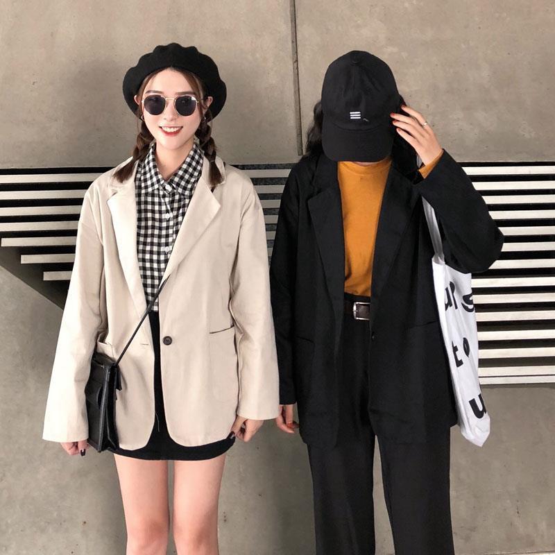 女生外套 西裝外套 休閒外套 chic小西裝外套女春季韓版網紅百搭寬鬆中長款休閑薄款小學生