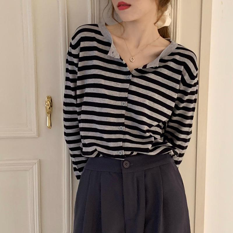 38071條紋針織衫 寬鬆顯瘦長袖上衣 薄荷美衣