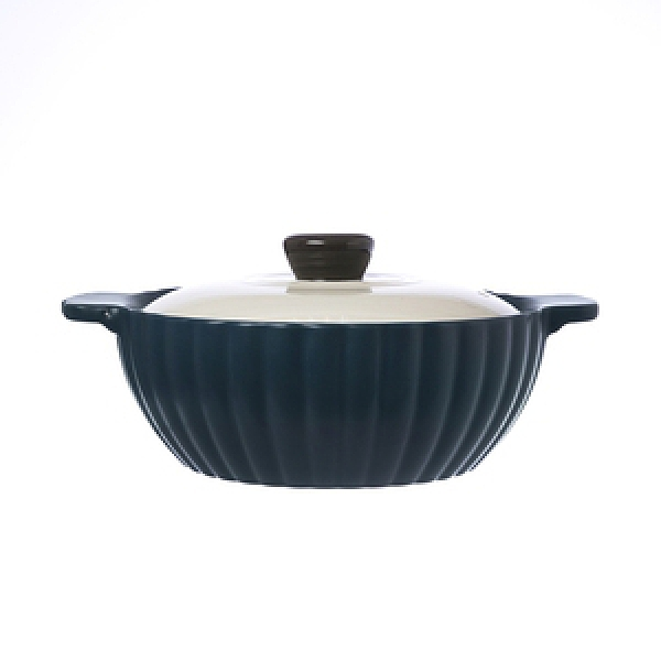 HOLA 日式南瓜造型陶鍋 22CM 寶石藍