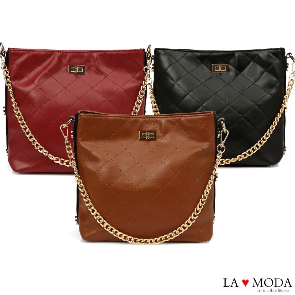 La Moda 本季最HOT小香風菱格紋肩背大容量斜背鏈帶大包 廠商直送 現貨