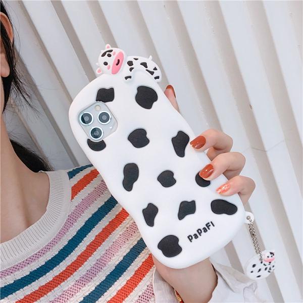 卡通奶牛蘋果12 Pro手機套 可愛立體蘋果12 mini保護套 日韓創意IPhone 12手機殼 iPhone12 Pro Max保護殼