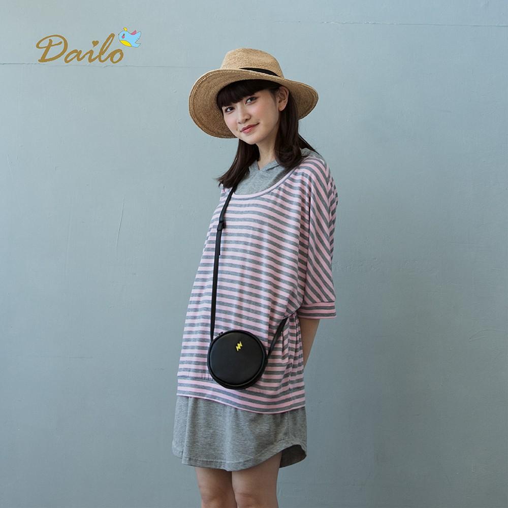 【Dailo】經典條文Q雞帽T長版-上衣(三色)
