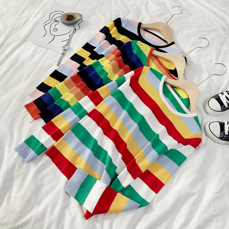 【現貨】彩虹拼色條紋長袖針織衫上衣休閒百搭學生簡約顯瘦合身套頭圓領打底毛衣女