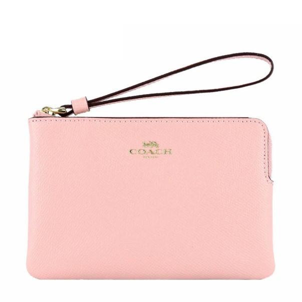 COACH 58032 零錢包 手機包 手拿包 防刮真皮皮革 L型拉鍊 零錢包 手機包 手拿包 淺粉色(現貨)