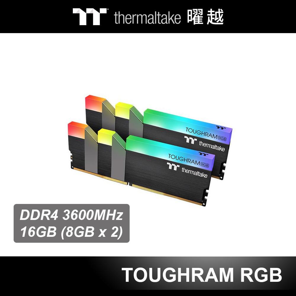 曜越 TOUGHRAM 鋼影 RGB 超頻 記憶體 DDR4 3600MHz 16GB (8GBx2) 黑色