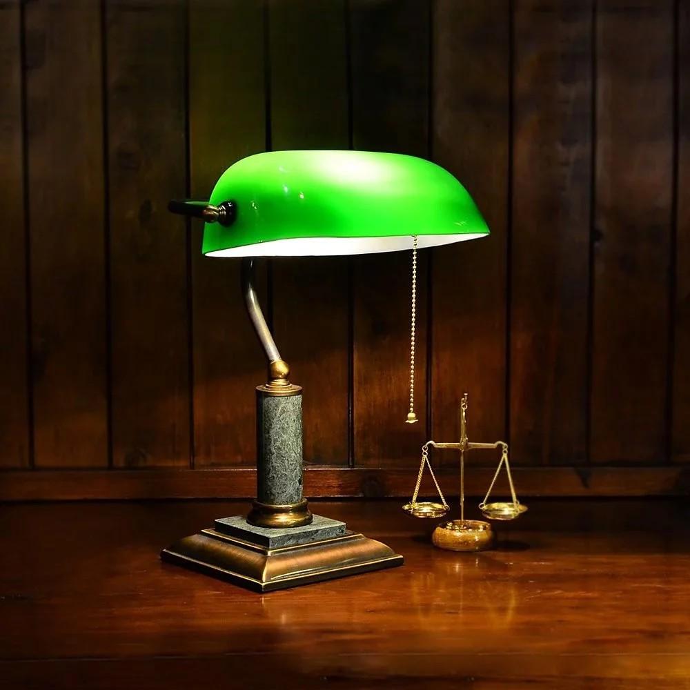 經典款全銅大理石座綠色銀行桌燈|Normande手工玻璃圖書館燈 【實體門市】