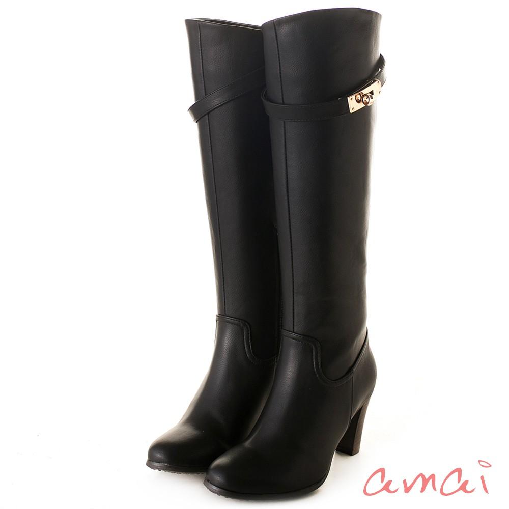 amai 皮帶金鎖2WAY顯瘦長靴 黑 AC102-89BK