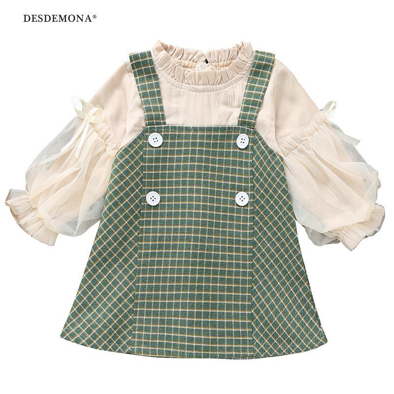 新品上新 現貨出售女童連衣裙2020年秋裝韓版新款拼接格子裙2-6歲女寶寶春秋款假2件