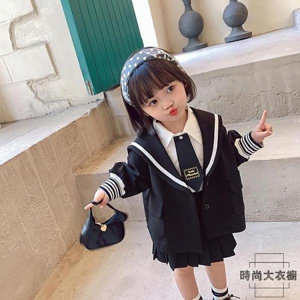女童外套春秋季女寶寶洋氣童裝小童學院風兒童上衣潮