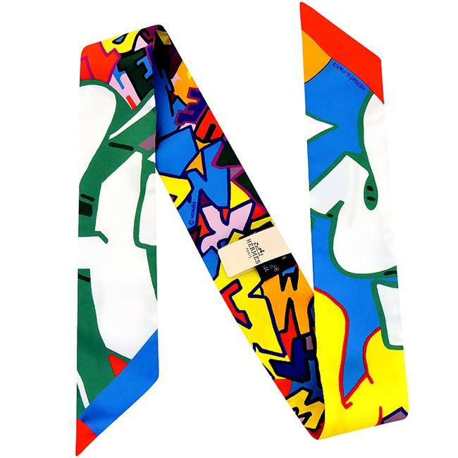 HERMES愛馬仕 彩色塗鴉字母圖樣造型領巾